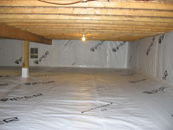 Sealed crawlspaces concrete vs plastic for Concrete in crawl space