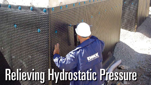 relieving hydrostatic pressure by drainboard