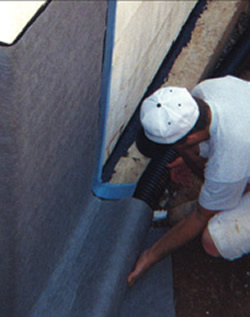friendly waterproofing membrane with a sheet drain and drainage tile
