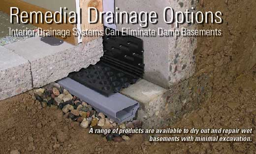 By nature a basement is difficult to waterproof. A porous concrete structure built into the ground is set up to leak.  Basements are not designed ... & Remedial Drainage Options - Interior Drainage Systems Can Eliminate ...